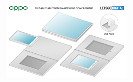 Oppo запатентовала гибкий планшет с возможностью установки смартфона
