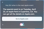 Siri проговорилась о том, что следующая презентация новинок Apple пройдет 20 апреля