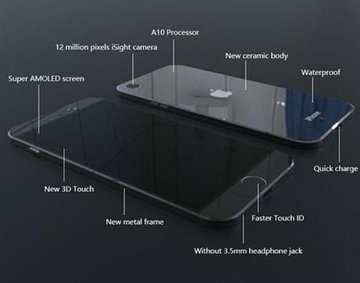 Слух: iPhone 7 оснастят керамическим водонепроницаемым корпусом и Super AMOLED дисплеем