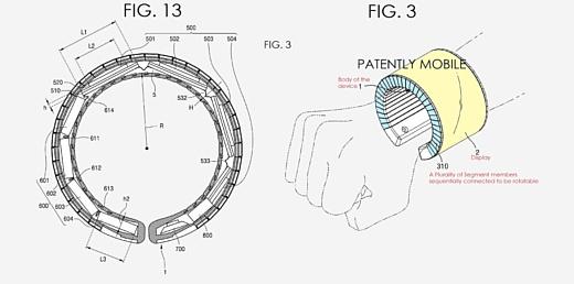 Samsung запатентовала умные часы с гибким экраном
