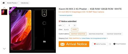 Xiaomi Mi Mix 2 появился на сайте GearBest