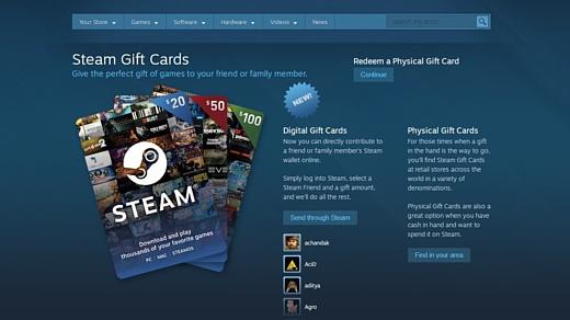 В Steam появились цифровые подарочные карты
