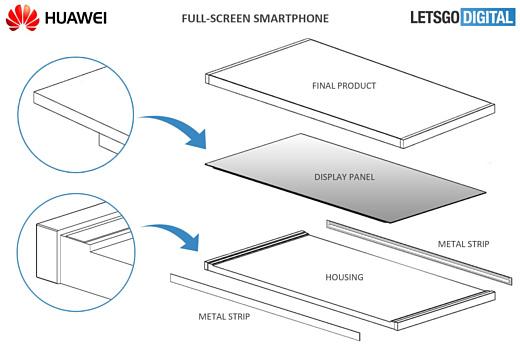 Huawei получила патент на выпуск безрамочного смартфона