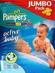 Pampers Active Baby 3 Midi (4-9 кг) Jumbo Pack 82 шт