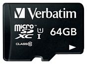Verbatim microSDXC Class 10 UHS-1 + 64GB SD adapter