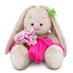 Зайка Ми c букетом в розовой юбке (15 см)