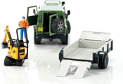 Bruder Land Rover Defender with trailer CAT and man 02593