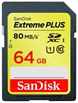 Sandisk Extreme PLUS SDXC Class 10 UHS Class 1 80MB/s 64GB