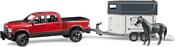 Bruder RAM 2500 Power Wagon with horse trailer and horse 02501