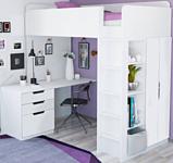 Polini Kids Simple с письменным столом и шкафом (белый)