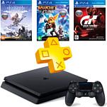 Sony PlayStation 4 Slim 1TB + Gran Turismo Sport + Ratchet & Clank + Horizon: Zero Dawn + PS Plus