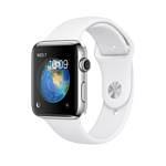 Apple Watch Series 2 42mm Stainless Steel with White Sport (MNPR2)