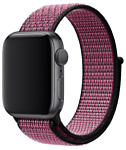 Apple Nike из плетеного нейлона 44 мм (розовый всплеск/пурпурн.)MWU42