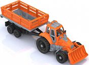 Нордпласт Трактор с грейдером и прицепом 397 (оранжевый)
