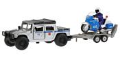 Технопарк Hummer H1 Пикап Полиция + мотоцикл на прицепе SB-18-37WB