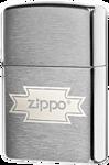 Zippo Logo Script Brushed Chrome 200