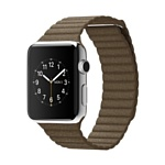 Apple Watch 42mm Stainless Steel with Light Brown Leather Loop (MJ402)