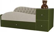 Лига диванов Джуниор 120x61 102196 (микровельвет, бежевый/зеленый)