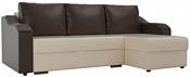 Лига диванов Монако 102852 (правый, экокожа, бежевый/коричневый)