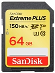 SanDisk Extreme PLUS SDXC Class 10 UHS Class 3 V30 150MB/s 64GB