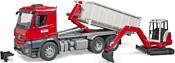 Bruder Mercedes-Benz Arocs Roll-Off Container & Schaeff excavat 03624