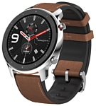 Amazfit GTR 47mm stainless steel case, leather strap