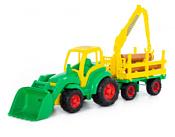 Полесье Чемпион трактор с ковшом + прицеп-лесовоз 0483