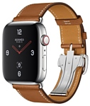 Apple Watch Herms Series 4 GPS + Cellular 44mm Stainless Steel Case with Leather Single Tour Deployment Buckle