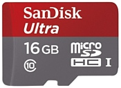 Sandisk Ultra microSDHC Class 10 UHS-I 48MB/s 16GB + SD adapter
