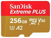 SanDisk Extreme PLUS microSDXC Class 10 UHS Class 3 V30 A2 170MB/s 256GB + SD adapter