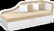 Mebelico Дюна 59402 (вельвет бежевый/экокожа белая)
