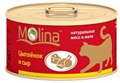Molina (0.08 кг) 12 шт. Консервы для кошек Цыпленок и сыр