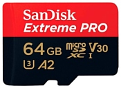 SanDisk Extreme Pro microSDXC Class 10 UHS Class 3 V30 A2 170MB/s 64GB + SD adapter