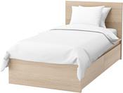 Ikea Мальм 200x90 (2 ящика, дубовый шпон/беленый,Леирсунд) 292.278.85