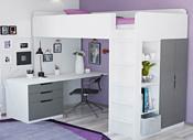 Polini Kids Simple с письменным столом и шкафом (белый/серый)