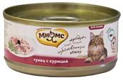 Мнямс (0.07 кг) 1 шт. Консервы для кошек Тунец с курицей в нежном желе