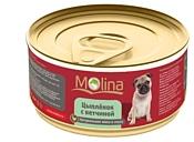 Molina (0.085 кг) 4 шт. Консервы для собак Цыпленок с ветчиной в соусе