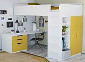 Polini Kids Simple с письменным столом и шкафом (белый/солнечный)