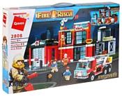 Qman Fire Rescue 2808 Пожарная станция с машиной