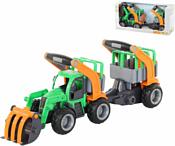 Полесье ГрипТрак Трактор-погрузчик с полуприцепом для животных 37398
