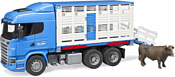 Bruder Scania R-Series livestock transporter with one cow 03549