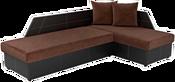 Mebelico Андора 59109 (вельвет коричневый/экокожа черная)