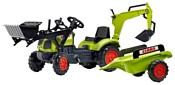 Falk Трактор-экскаватор с прицепом и двумя ковшами (2040N)