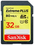 Sandisk Extreme PLUS SDHC Class 10 UHS Class 1 80MB/s 32GB