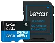 Lexar microSDHC Class 10 UHS Class 1 633x 32GB + SD adapter