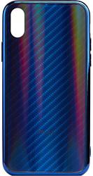 EXPERTS AURORA GLASS CASE для iPhone X/XS с LOGO (синий)