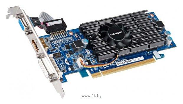 Фотографии GIGABYTE GeForce 210 590Mhz PCI-E 2.0 1024Mb 1200Mhz 64 bit DVI HDMI HDCP