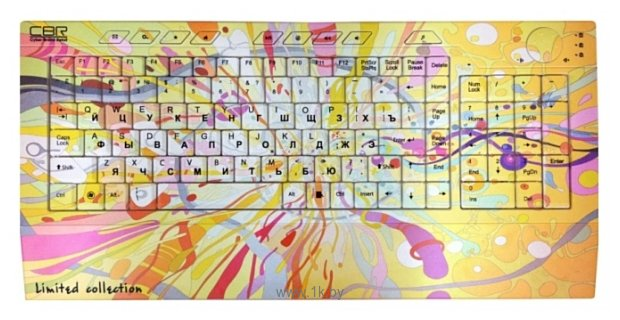 Фотографии CBR Picture Keyboard Splashes Yellow-Pink USB