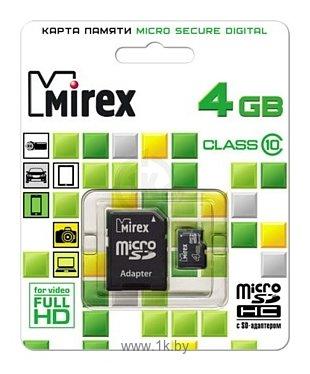 Фотографии Mirex microSDHC Class 10 4GB + SD adapter
