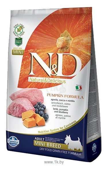 Фотографии Farmina (2.5 кг) N&D Grain-Free Canine Pumpkin Lamb & Blueberry Adult Mini